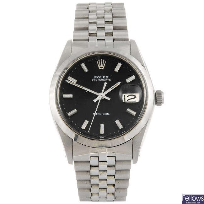 ROLEX - a gentleman's stainless steel Oysterdate Precision bracelet watch.