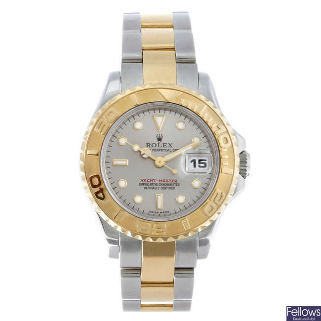 ROLEX - a lady's bi-metal Oyster Perpetual Yacht-Master bracelet watch.