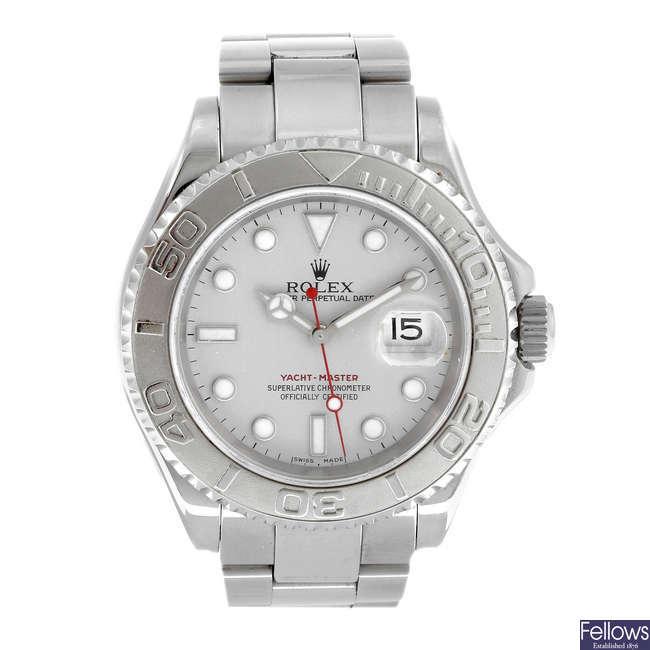 ROLEX - a gentleman's bi-metal Oyster Perpetual Yacht-Master bracelet watch.