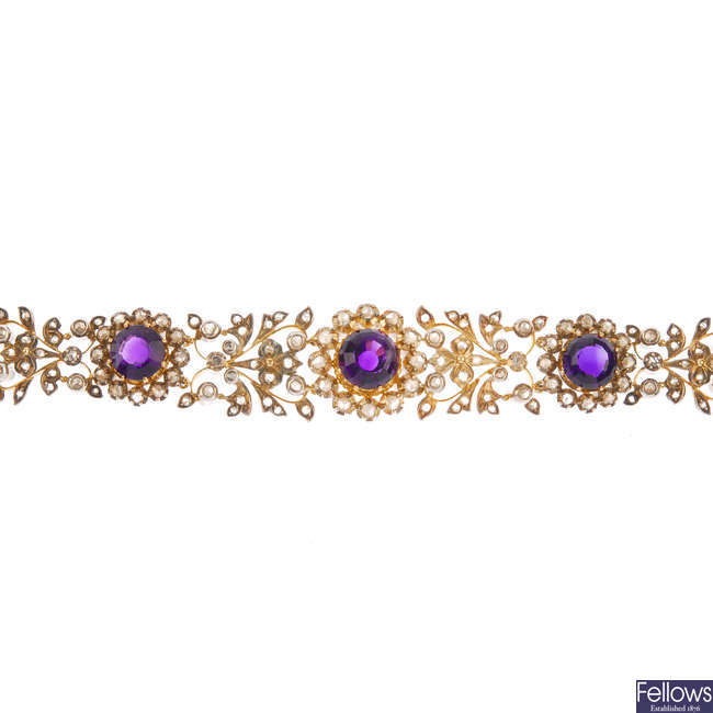 A mid 20th century amethyst and diamond bracelet.