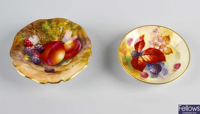 A Royal Worcester bone china circular pin dish