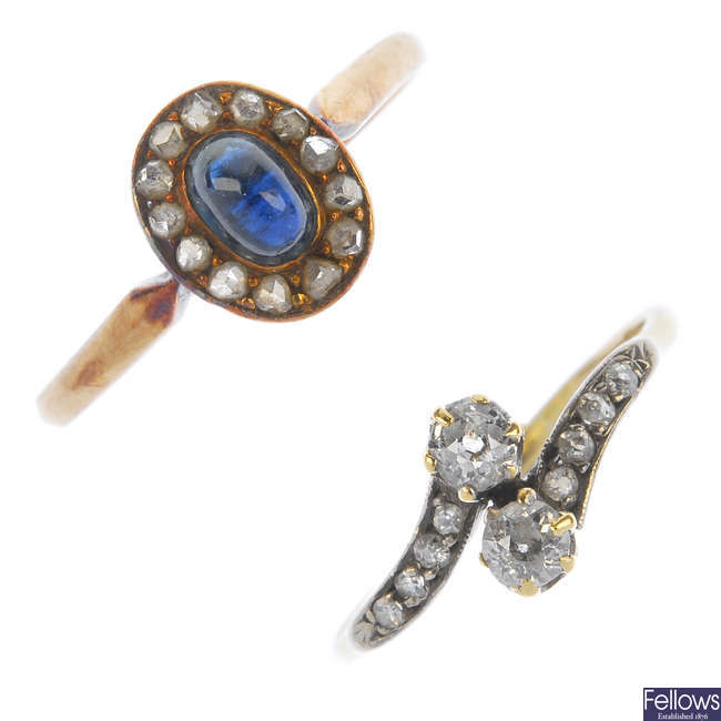 An early 20th century 18ct gold diamond two-stone ring and a sapphire and diamond cluster ring.