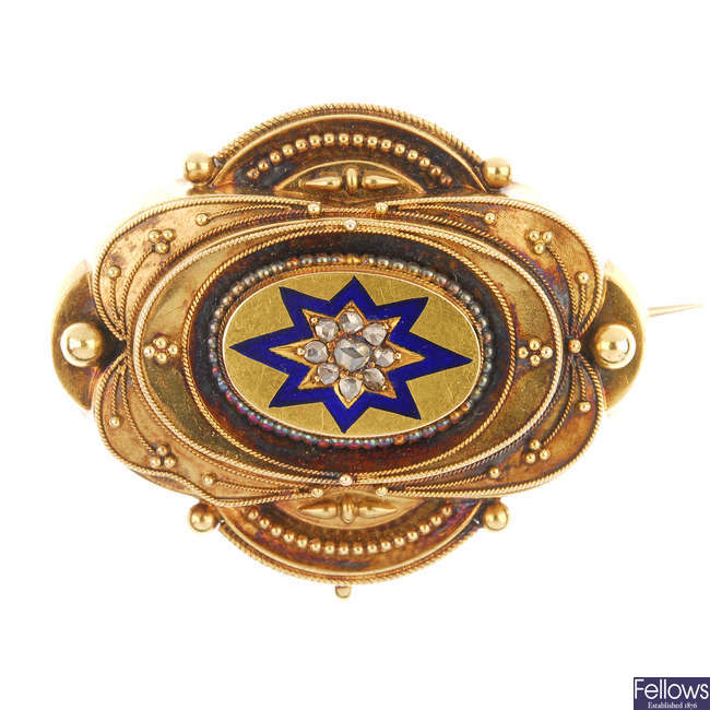 A late 19th century 20ct gold diamond and enamel memorial brooch