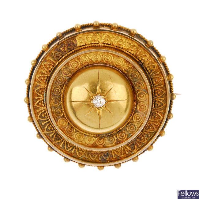 A late 19th century 15ct gold diamond brooch.