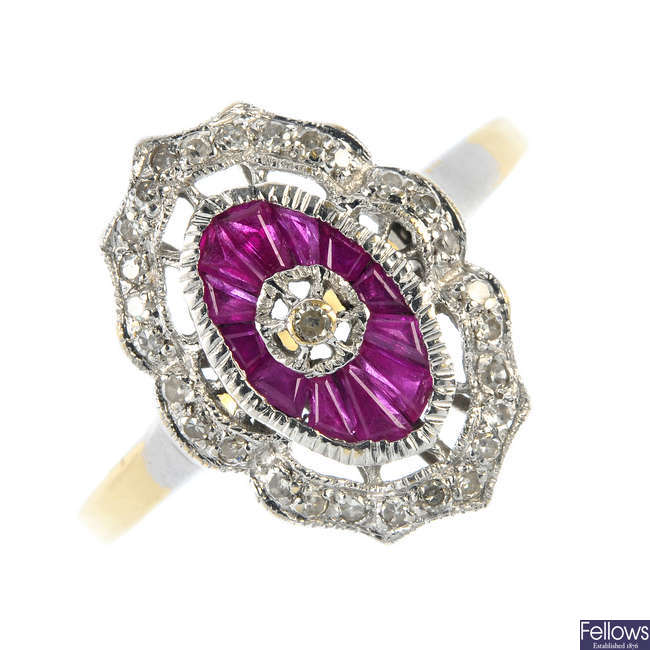 An 18ct gold diamond and ruby ring.