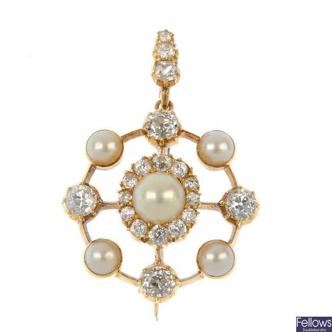 A late 19th century gold diamond and split pearl pendant.