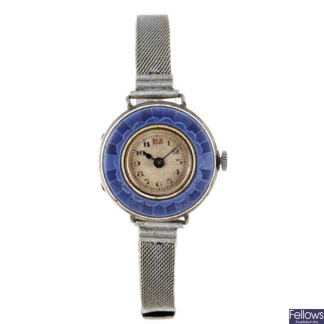 A lady's silver bracelet watch.
