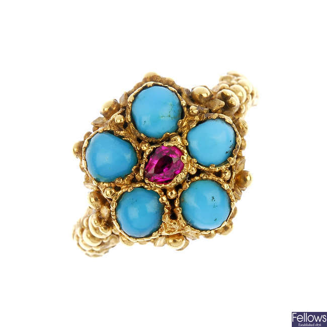 An early 19th century 18ct gold gem-set memorial ring.