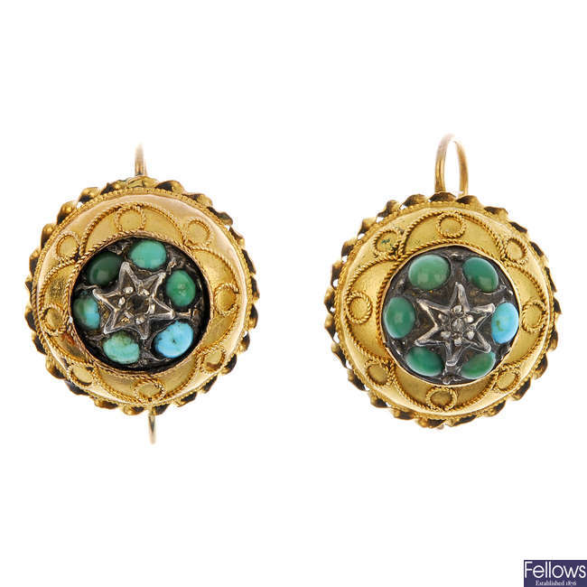 A pair of Victorian 18ct gold diamond and turquoise earrings.