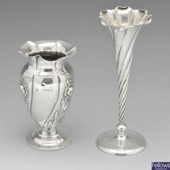 Two small late Victorian silver vases & a later shell butter dish. (3).