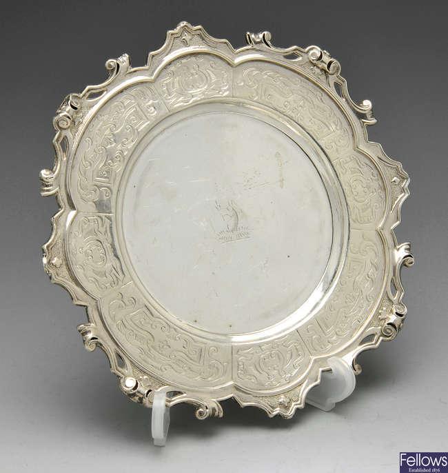 A small Victorian silver dish.