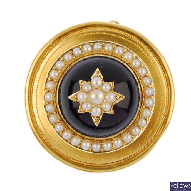 A late 19th century gold amethyst and split pearl sentimental brooch.