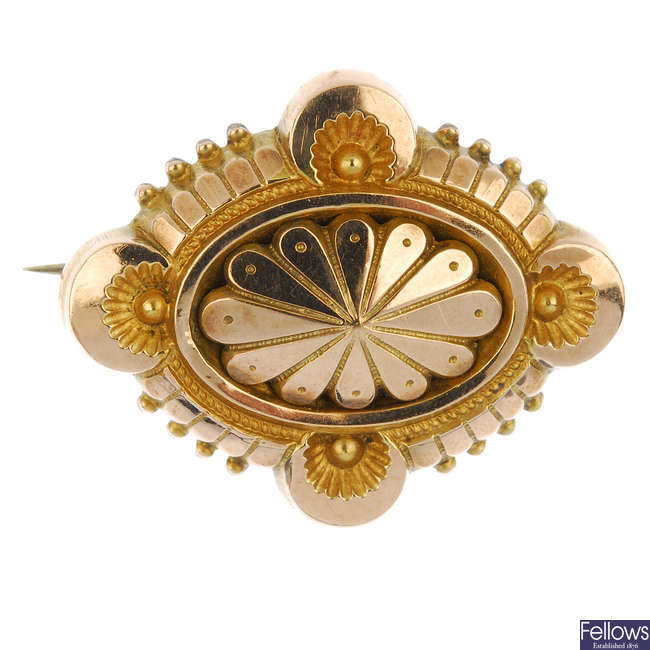 A late 19th century gold memorial brooch.