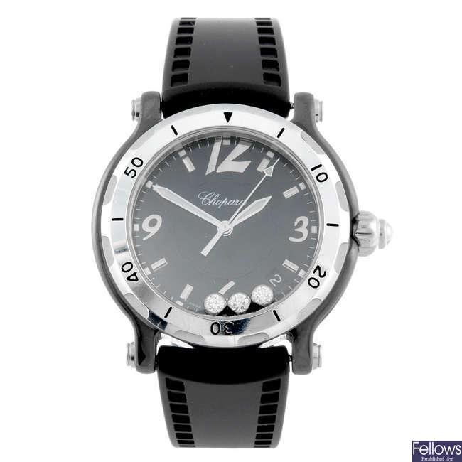 CHOPARD - a limited edition gentleman's ceramic Happy Sport wrist watch.