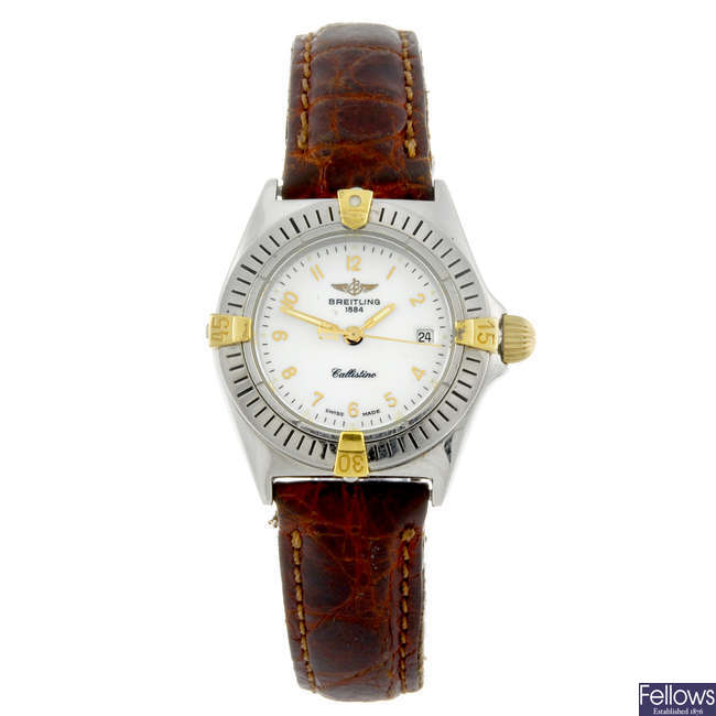 BREITLING - a lady's stainless steel Callistino wrist watch.