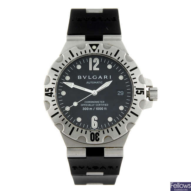 BULGARI - a gentleman's stainless steel Diagono wrist watch.
