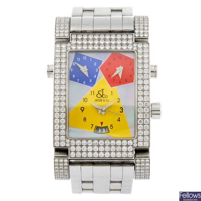 JACOB & CO - a Three Time Zone Capri bracelet watch.