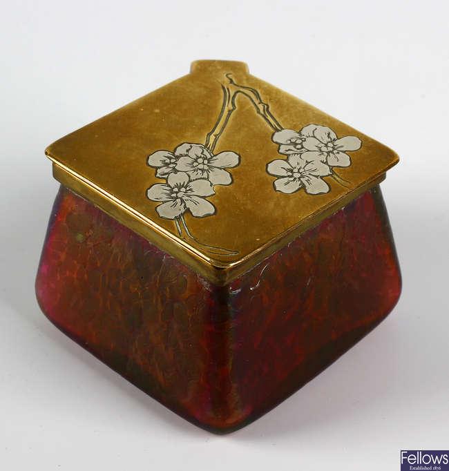 A Loetz Art Nouveau inkwell