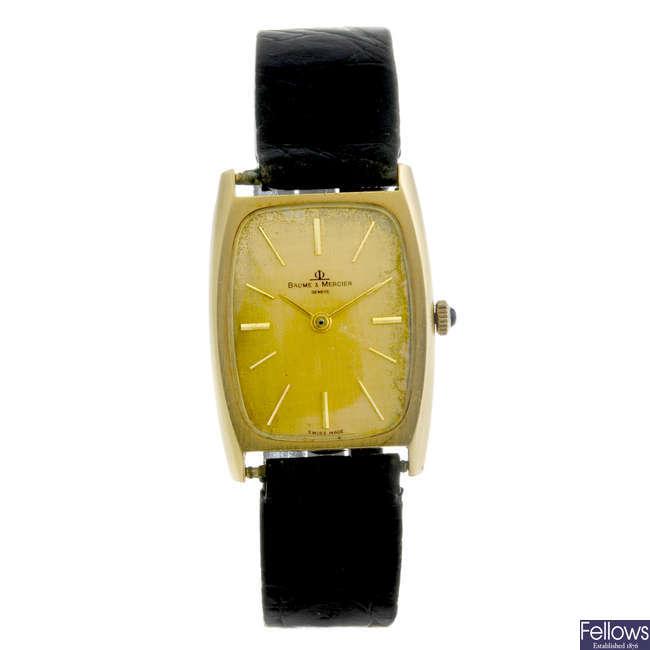 BAUME & MERCIER - a gentleman's yellow metal wrist watch.