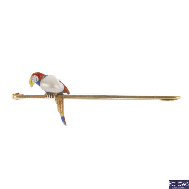 An early 20th century 15ct gold enamel blister pearl parrot bar brooch.