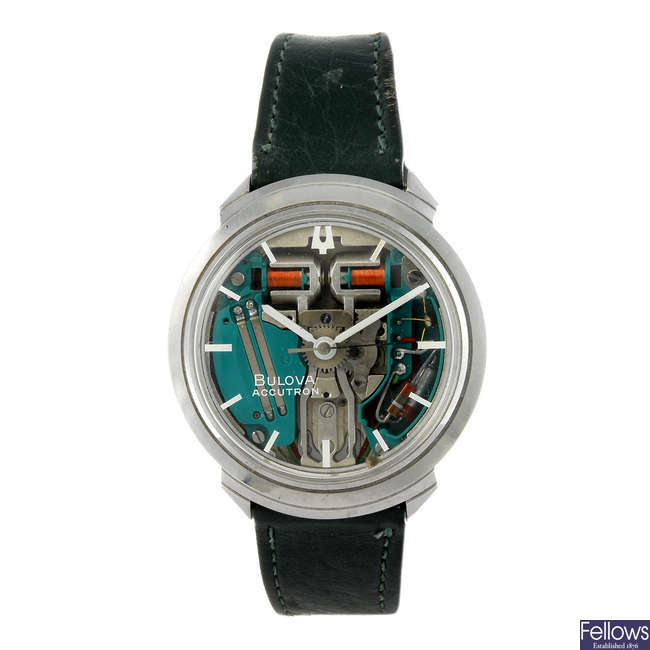 BULOVA - a gentleman's stainless steel Accutron Spaceview wrist watch.