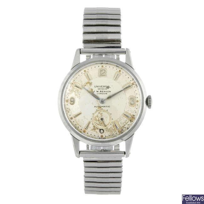 UNIVERSAL GENEVE - a gentleman's stainless steel bracelet watch retailed by J.W Benson.