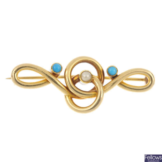 An early 20th century 15ct gold split pearl and turquoise brooch.