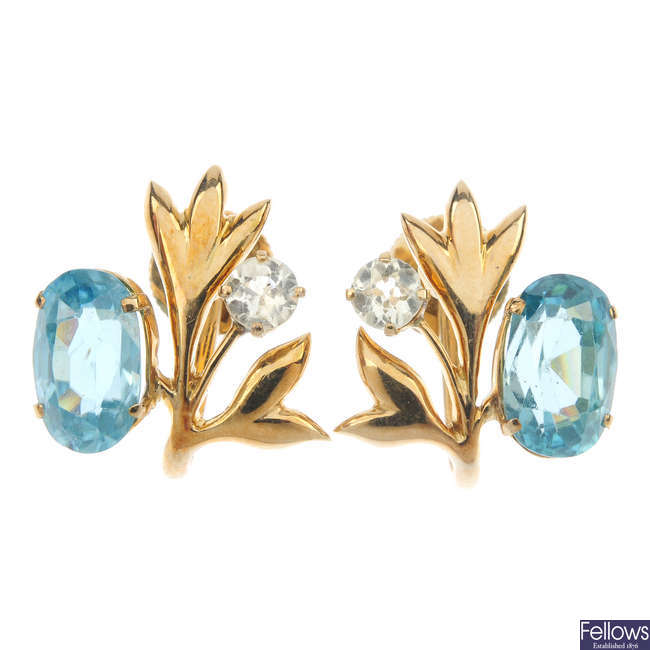 A pair of mid 20th century 15ct gold zircon and sapphire earrings.