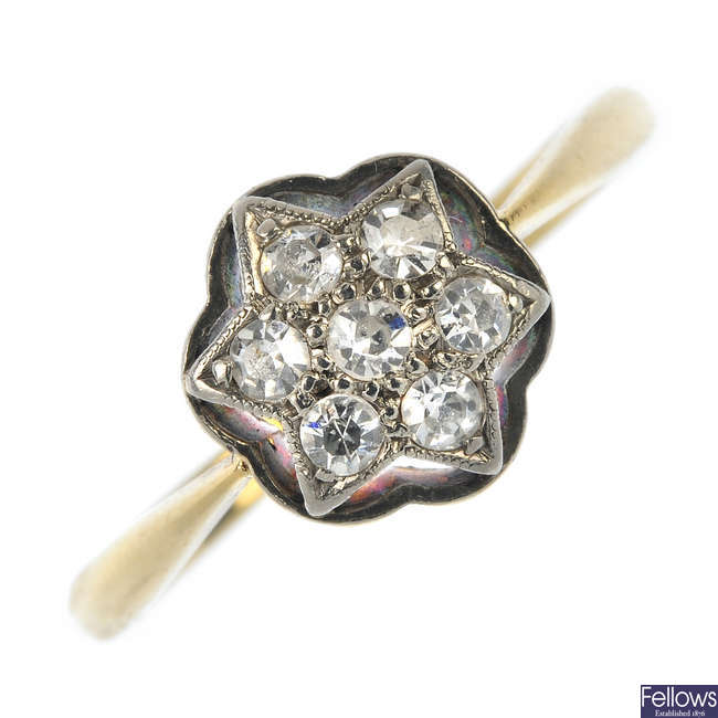 An early 20th century 18ct gold diamond star ring.