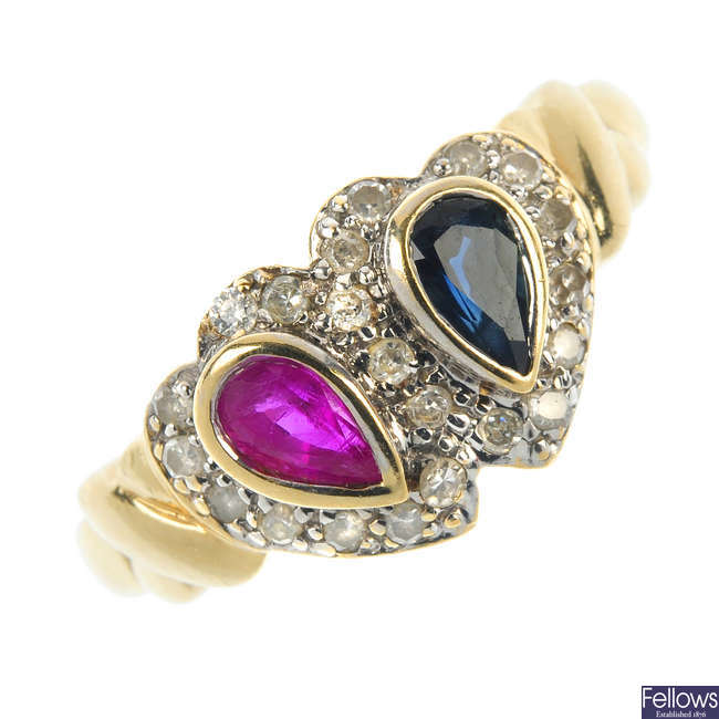 A 9ct gold diamond, ruby and sapphire hearts ring.