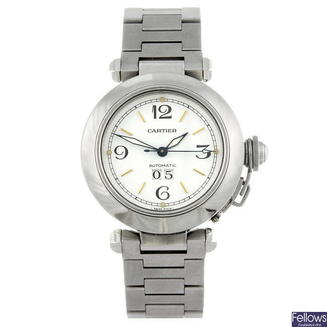CARTIER - a stainless steel Pasha bracelet watch.