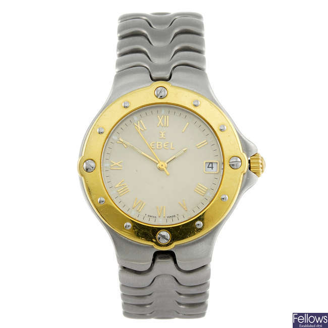 EBEL - a gentleman's stainless steel Sportwave bracelet watch.