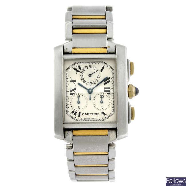 CARTIER - a stainless steel Tank Francaise Chronoflex chronograph bracelet watch.