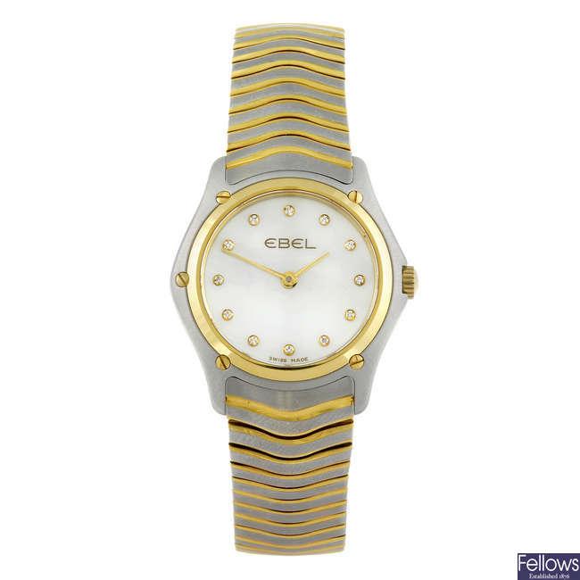 EBEL - a lady's bi-colour Classic Wave bracelet watch.