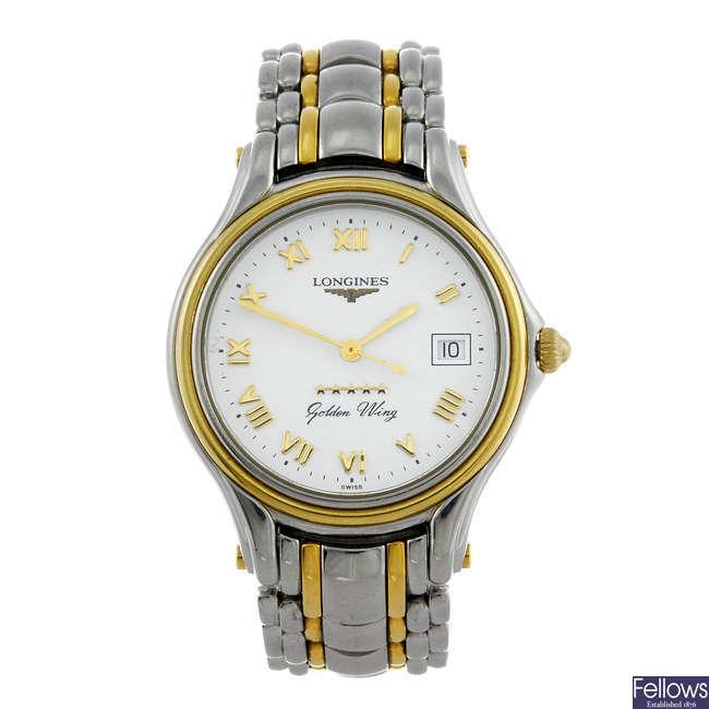LONGINES - a gentleman's bi-colour Golden Wing bracelet watch.