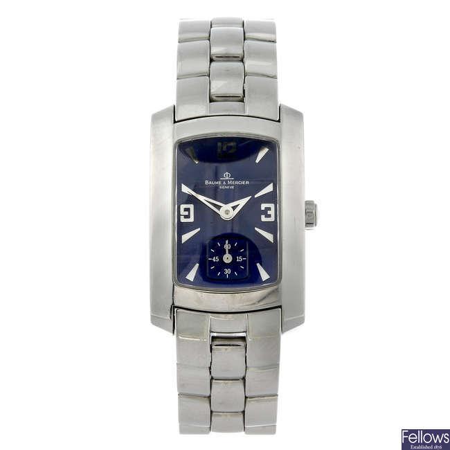BAUME & MERCIER - a lady's stainless steel Hampton Milleis bracelet watch.
