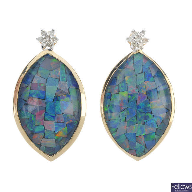 A pair of 9ct gold mosaic opal triplet and diamond ear pendants.