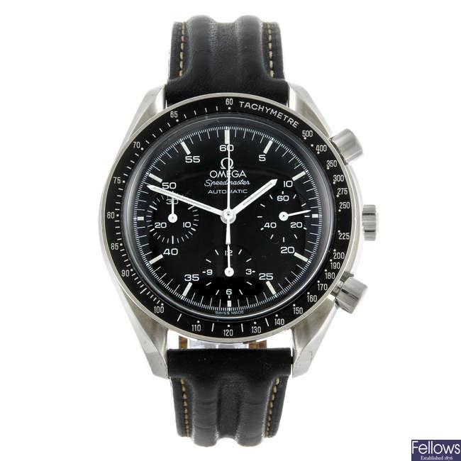 OMEGA - a gentleman's stainless steel Speedmaster chronograph wrist watch.