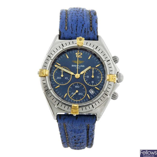 BREITLING - a gentleman's stainless steel Windrider chronograph wrist watch.