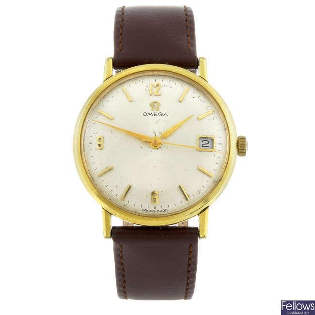 OMEGA - a gentleman's gold plated wrist watch.
