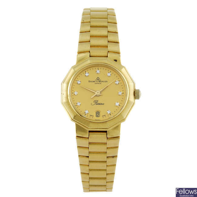 BAUME & MERCIER - a lady's 18ct yellow gold Riviera bracelet watch.