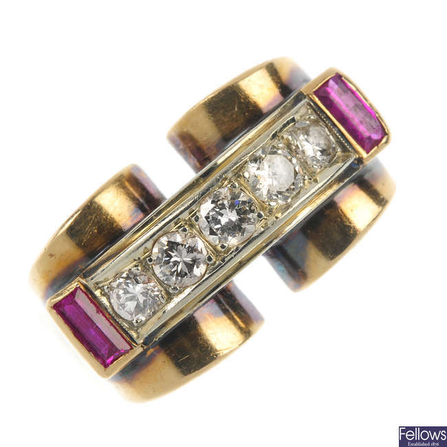 A mid 20th century gold diamond and synthetic ruby dress ring.