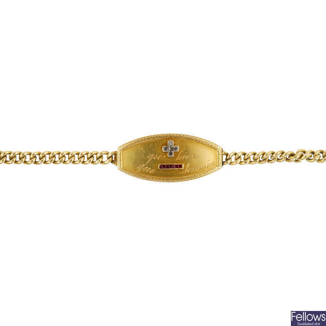 An early 20th century gold diamond and ruby bracelet.