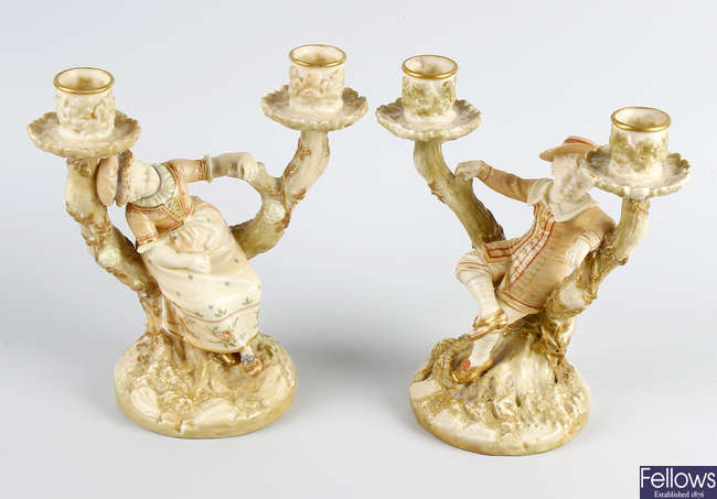 A pair of late Victorian Royal Worcester porcelain figures by James Hadley