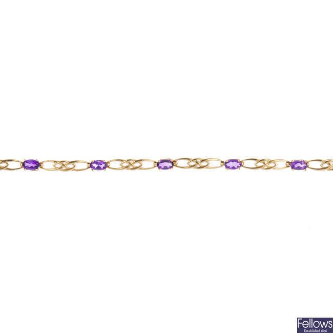 Two 9ct gold gem-set bracelets.