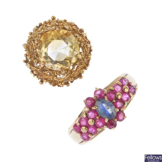 Two gold gem-set dress rings.