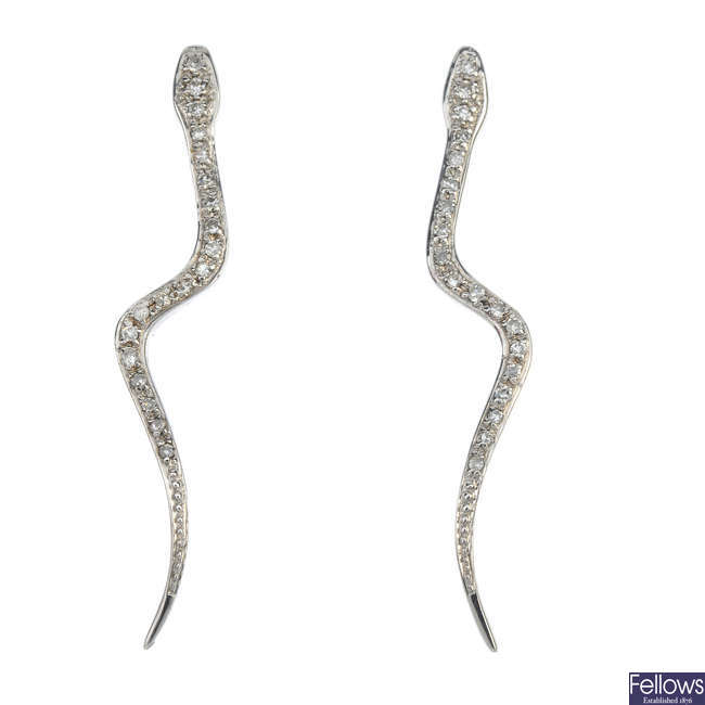 A pair of 9ct gold diamond snake ear pendants.