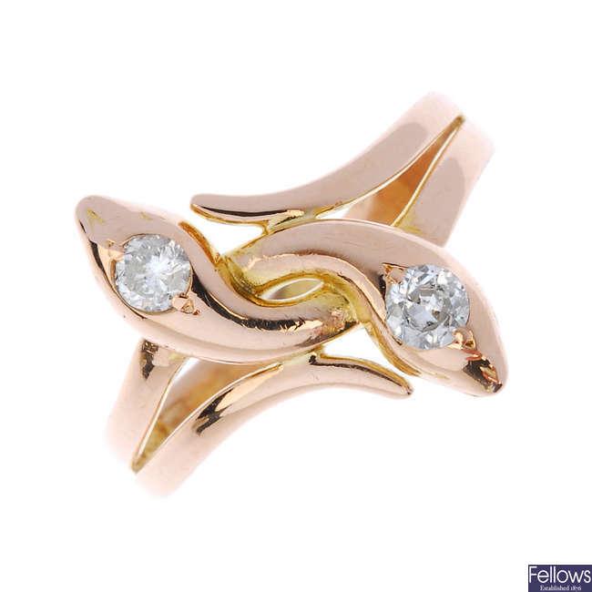 A diamond double snake ring.