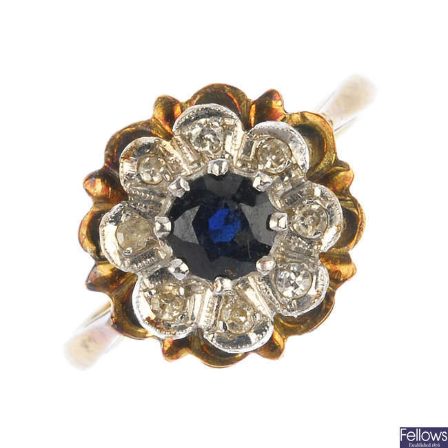 A sapphire and diamond floral cluster ring.