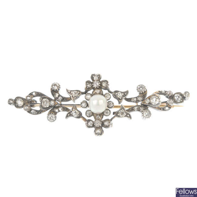 A late 19th century cultured pearl and diamond brooch.